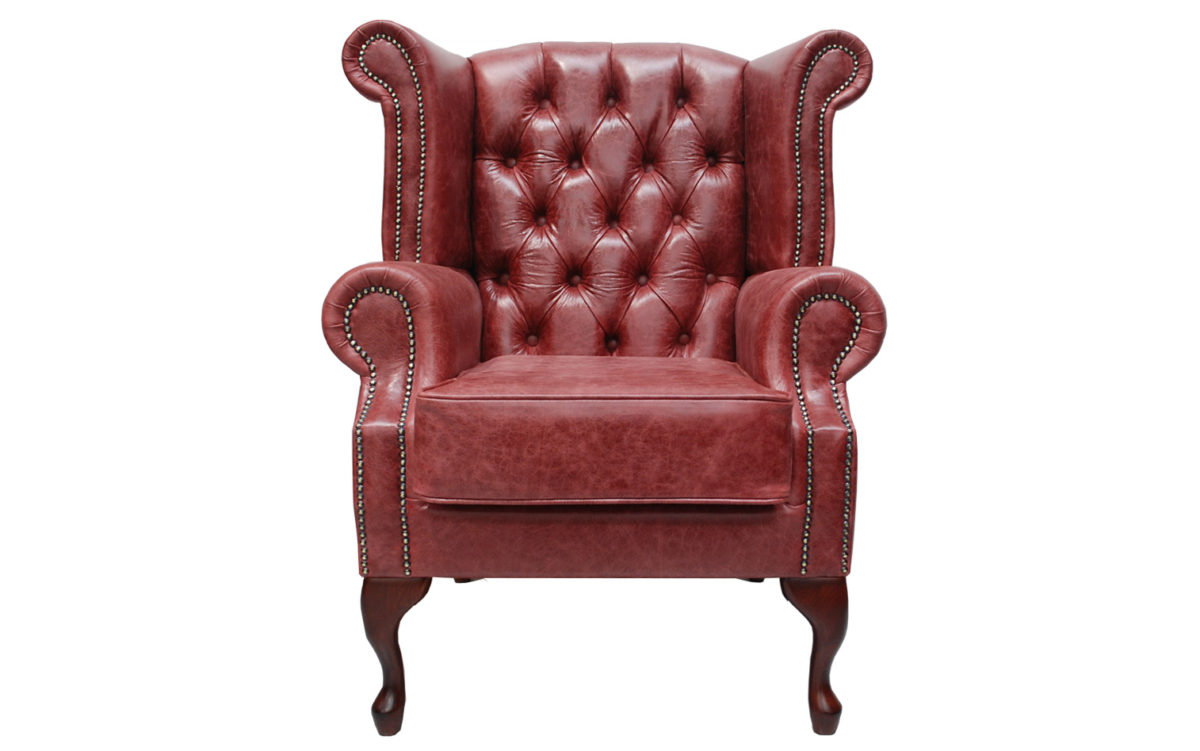 Kerry Leather Scroll Wing Chair Deep Buttoned Leather