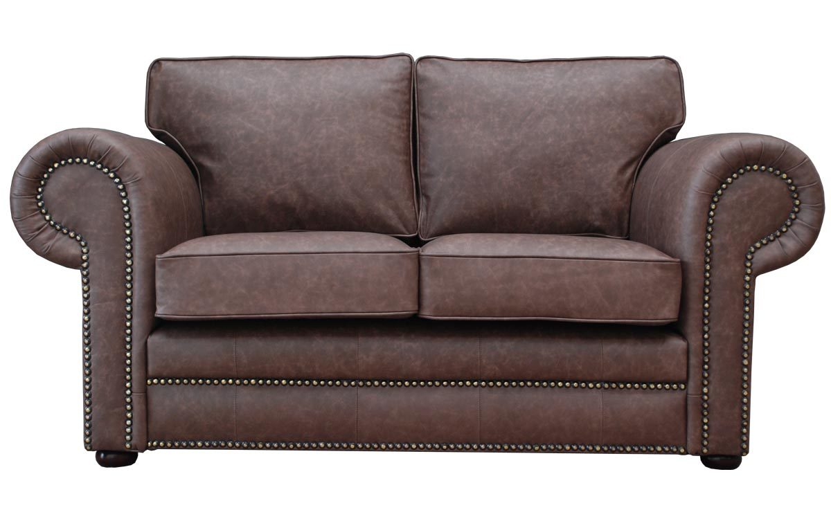 Mayo Vintage Leather Sofa Large Round Studded Arms Comfy